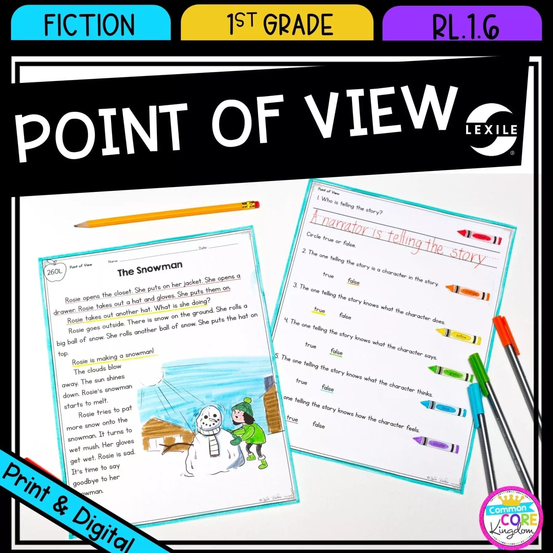Point of View 1st Grade   RL.1.6 Google Slides Distance Learning Pack [ 1800 x 1800 Pixel ]