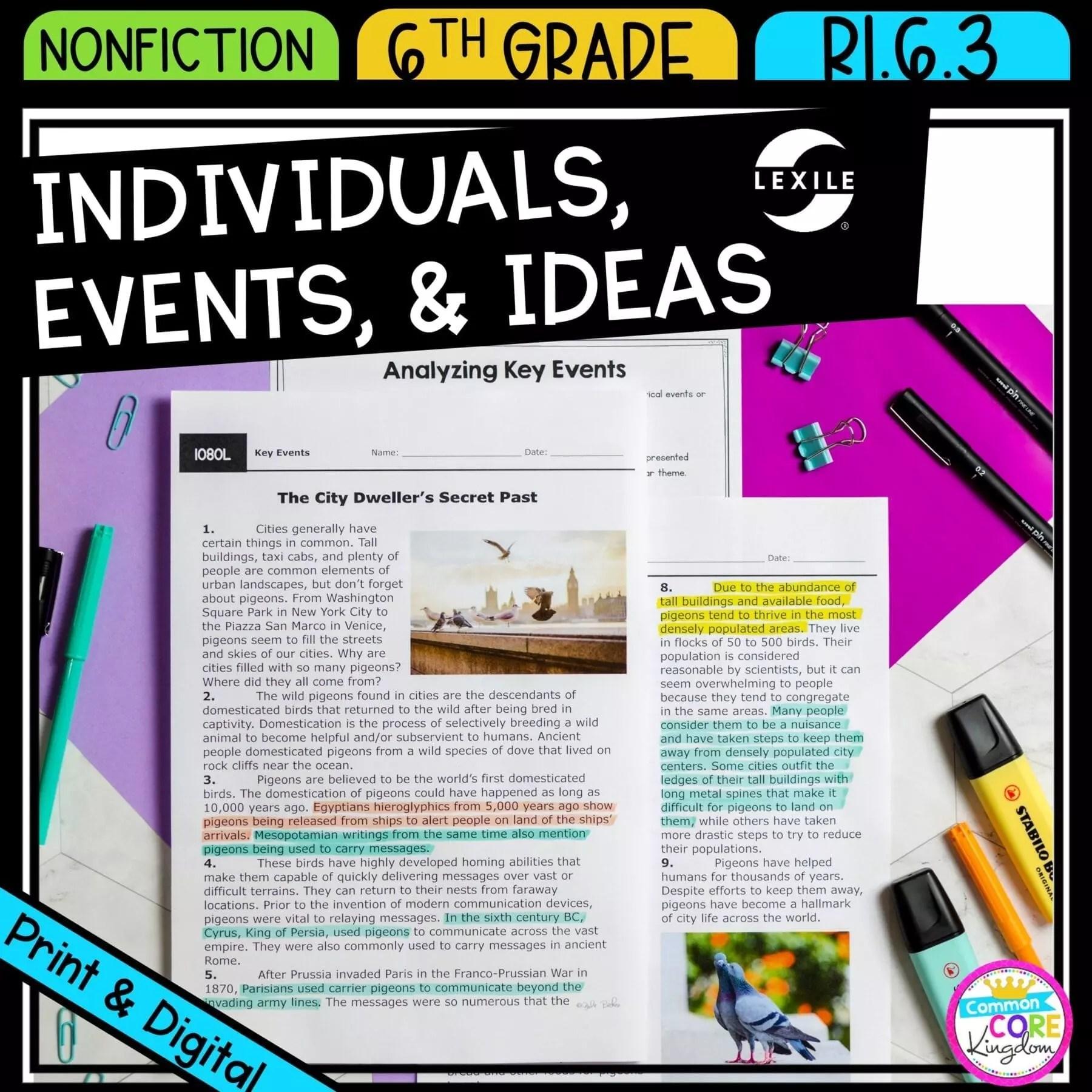 Key Individuals Events \u0026 Ideas 6th Grade RI.6.3   Common Core Kingdom [ 1800 x 1800 Pixel ]