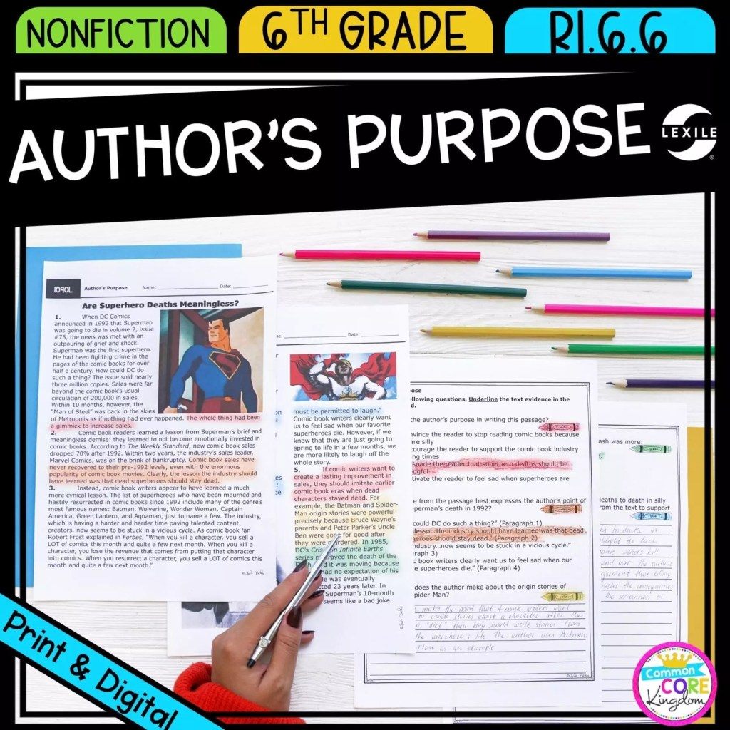 Author's Purpose & Author's Point of View for 6th grade cover showing printable and digital worksheets