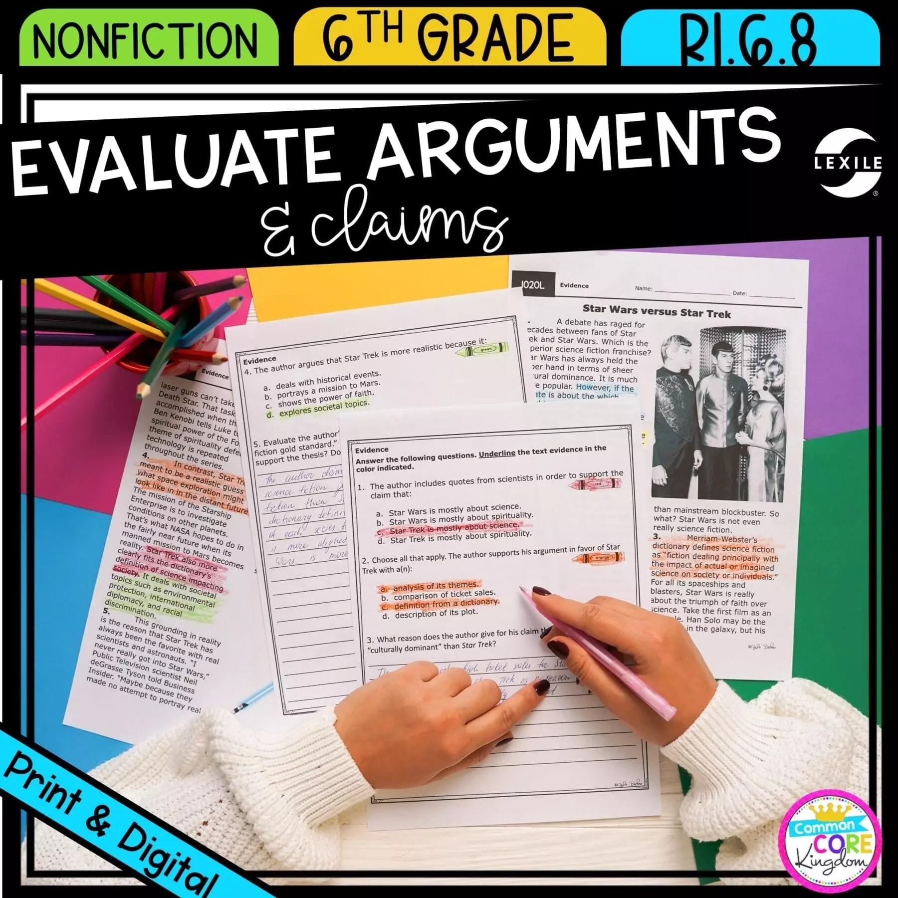 Evaluate Arguments 6th Grade RI.6.8   Common Core Kingdom [ 1800 x 1800 Pixel ]