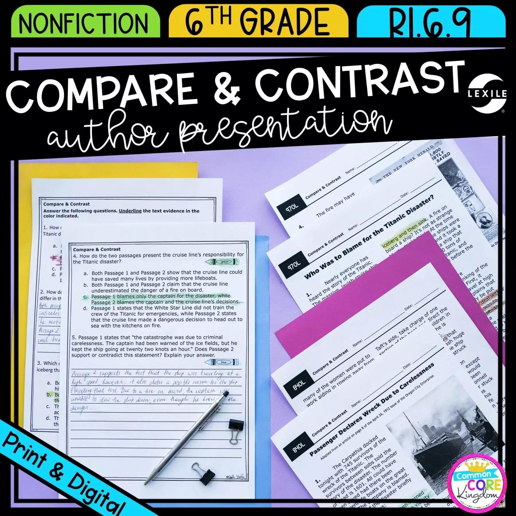 Compare \u0026 Contrast 6th Grade RI.6.9   Common Core Kingdom [ 1800 x 1800 Pixel ]