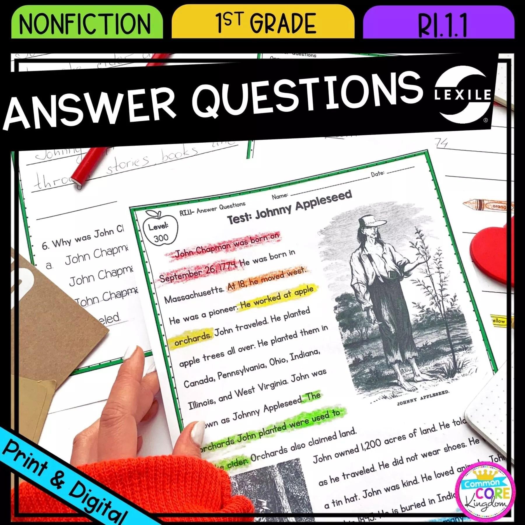 Ask \u0026 Answer Questions - 1st Grade RI.1.1 Printable \u0026 Digital Google Slides  Distance Learning Pack   Common Core Kingdom [ 1800 x 1800 Pixel ]