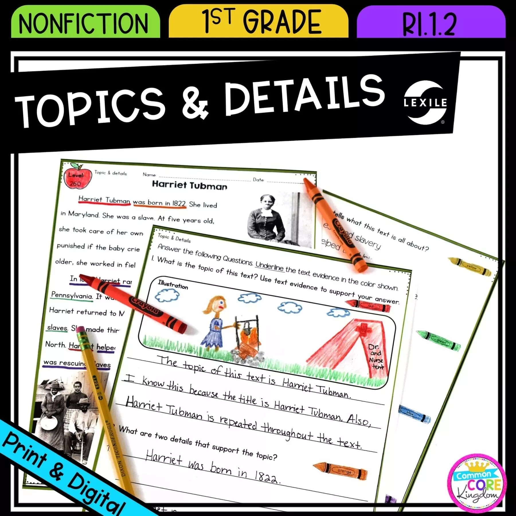 hight resolution of Main Topic \u0026 Details in Nonfiction - 1st Grade - RI.1.2 Printable \u0026 Digital  Google Slides Distance Learning Pack   Common Core Kingdom