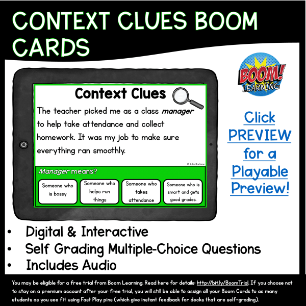 Context Clues Boom Cards Cover