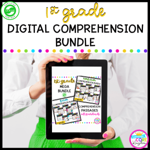 1st Grade DIGITAL MEGA bundle cover showing teacher holding a tablet with a google slide reading resource opened to a question page
