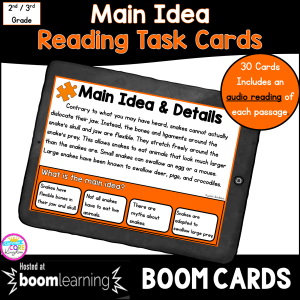 Main Idea Boom Card Task Cards for 2nd & 3rd grade cover