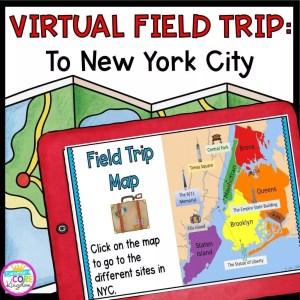 New York City Virtual Field Trip Cover showing red tablet with a map of new york city on it