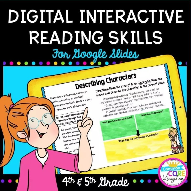 Digital Interactive Reading Skills for Google Slides Distance Learning cover