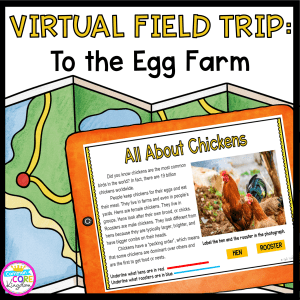 Virtual Field Trip product cover showing an image from the google slides lesson about egg farms