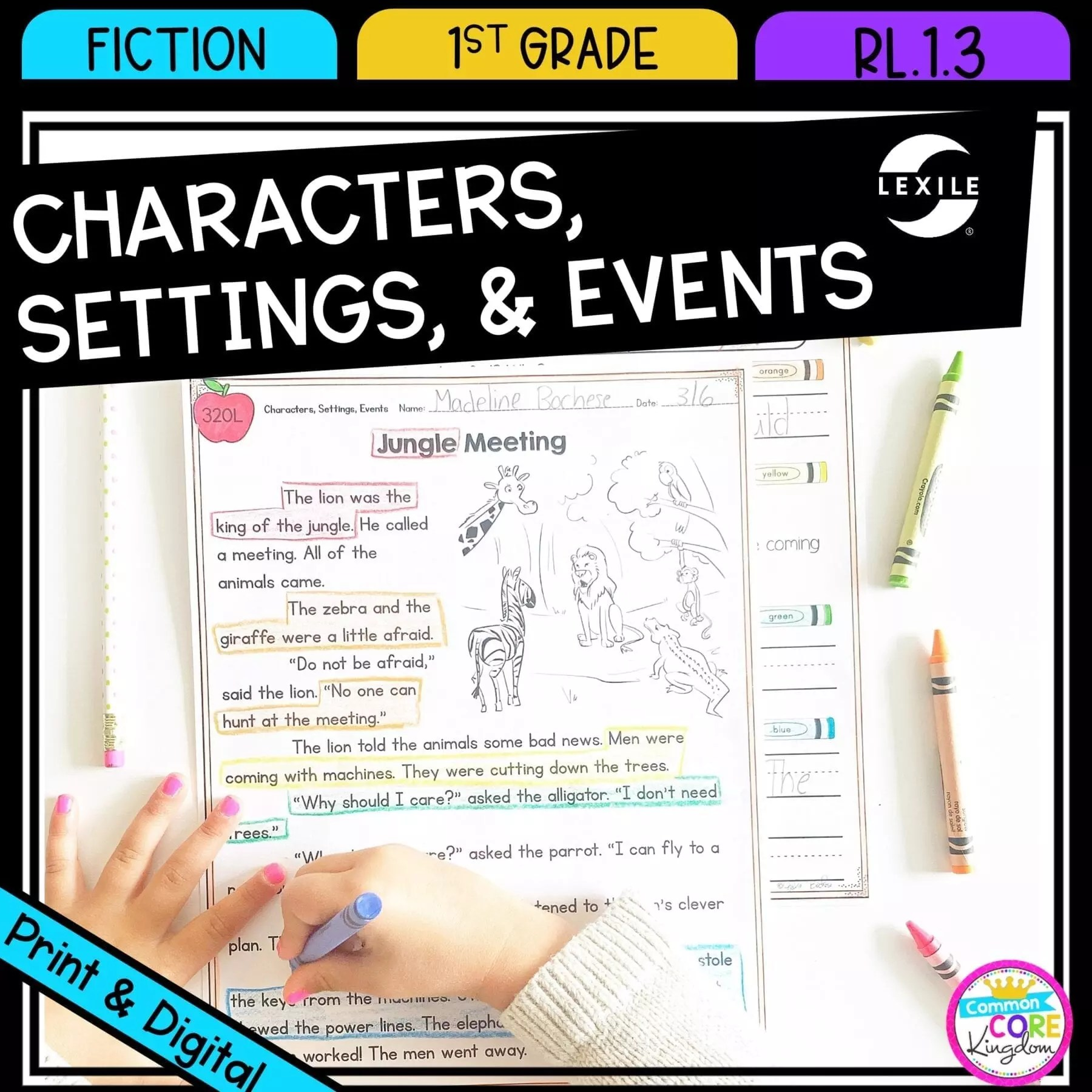 Characters Settings and Events - 1st Grade RL.1.3 Printable \u0026 Digital  Google Slides Distance Learning Pack   Common Core Kingdom [ 1800 x 1800 Pixel ]