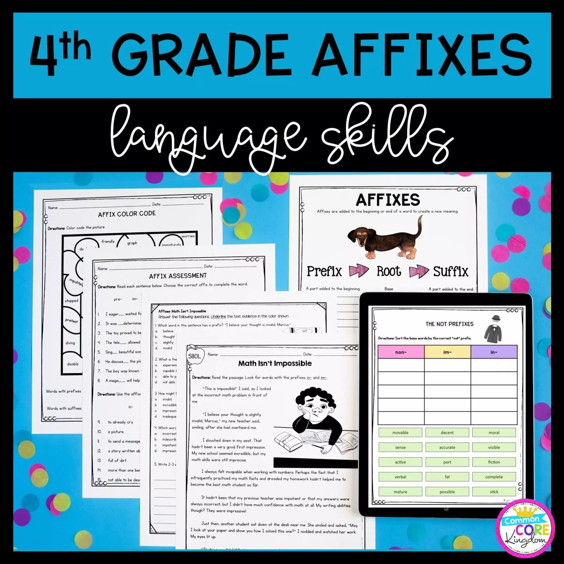 hight resolution of 4th Grade Affixes Unit \u0026 Task Cards - PDF \u0026 Google Slides Distance Learning  Pack   Common Core Kingdom
