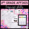 Cover of affixes resource for third grade with a picture of affix worksheets and google slides on a tablet with a pink background