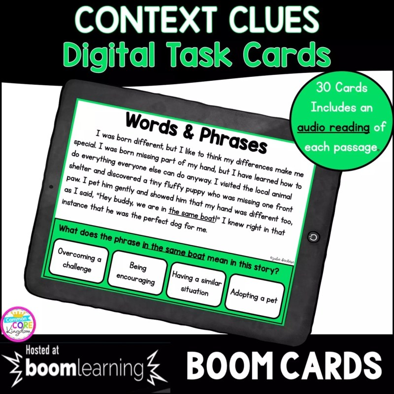 Cover for Context Clues in Fiction Boom Cards resource showing a 4th grade and 5th grade reading task card on a tablet