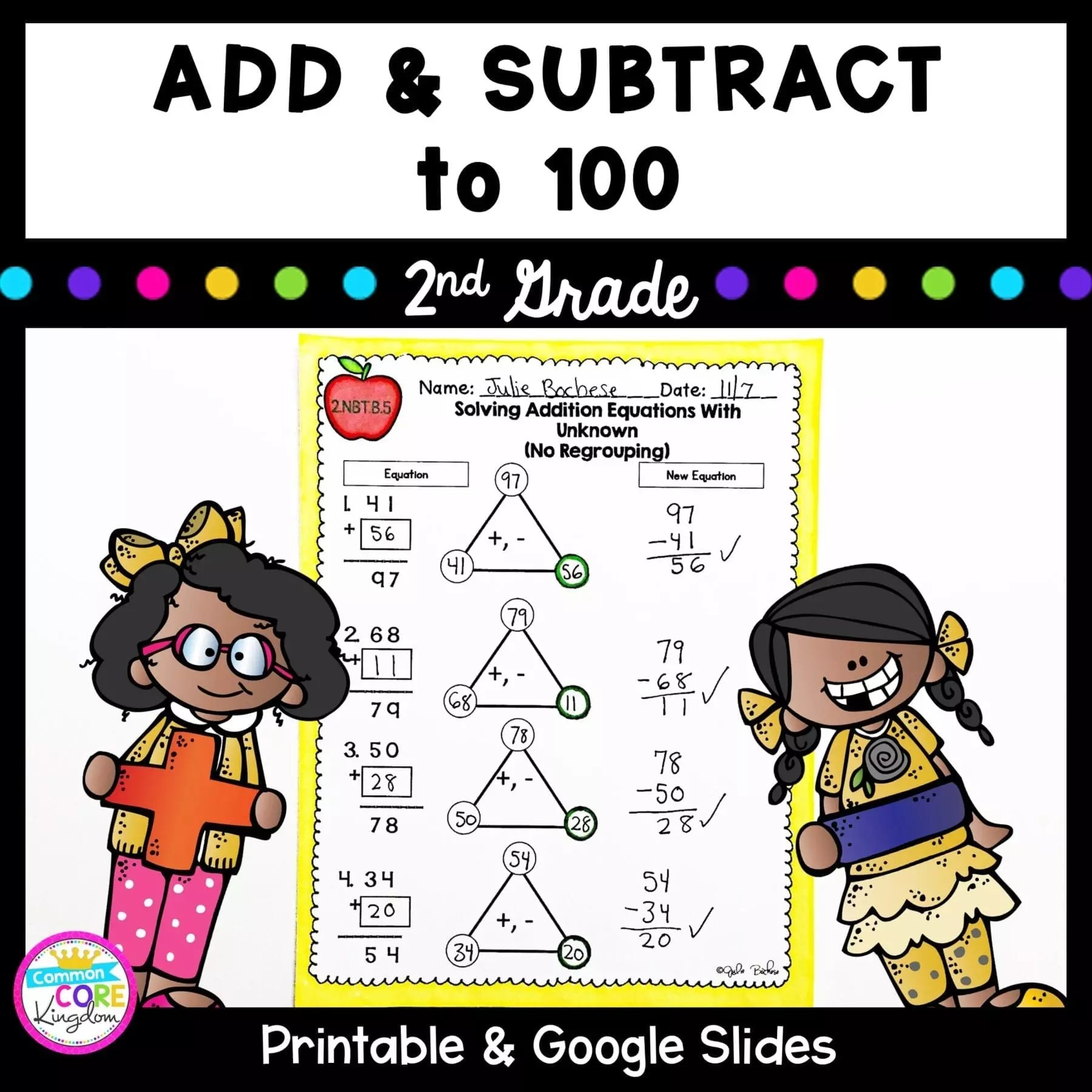 hight resolution of Add \u0026 Subtract to 100 - 2nd Grade 2.NBT.B.5 Google Slides Distance Learning  Pack   2nd Grade  Common Core Math Skills