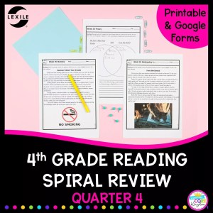 4th grade reading spiral review 4th quarter cover with two reading passages and a venn diagram to compare the two pages.