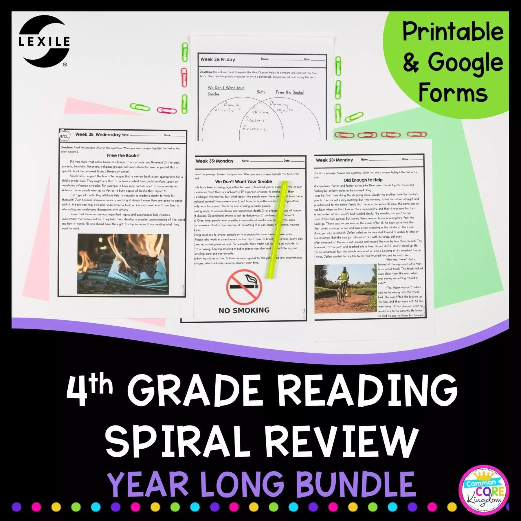 4th Grade Spiral Review - All Year Bundle - Google Forms Distance Learning  Pack   Common Core Kingdom [ 1800 x 1800 Pixel ]