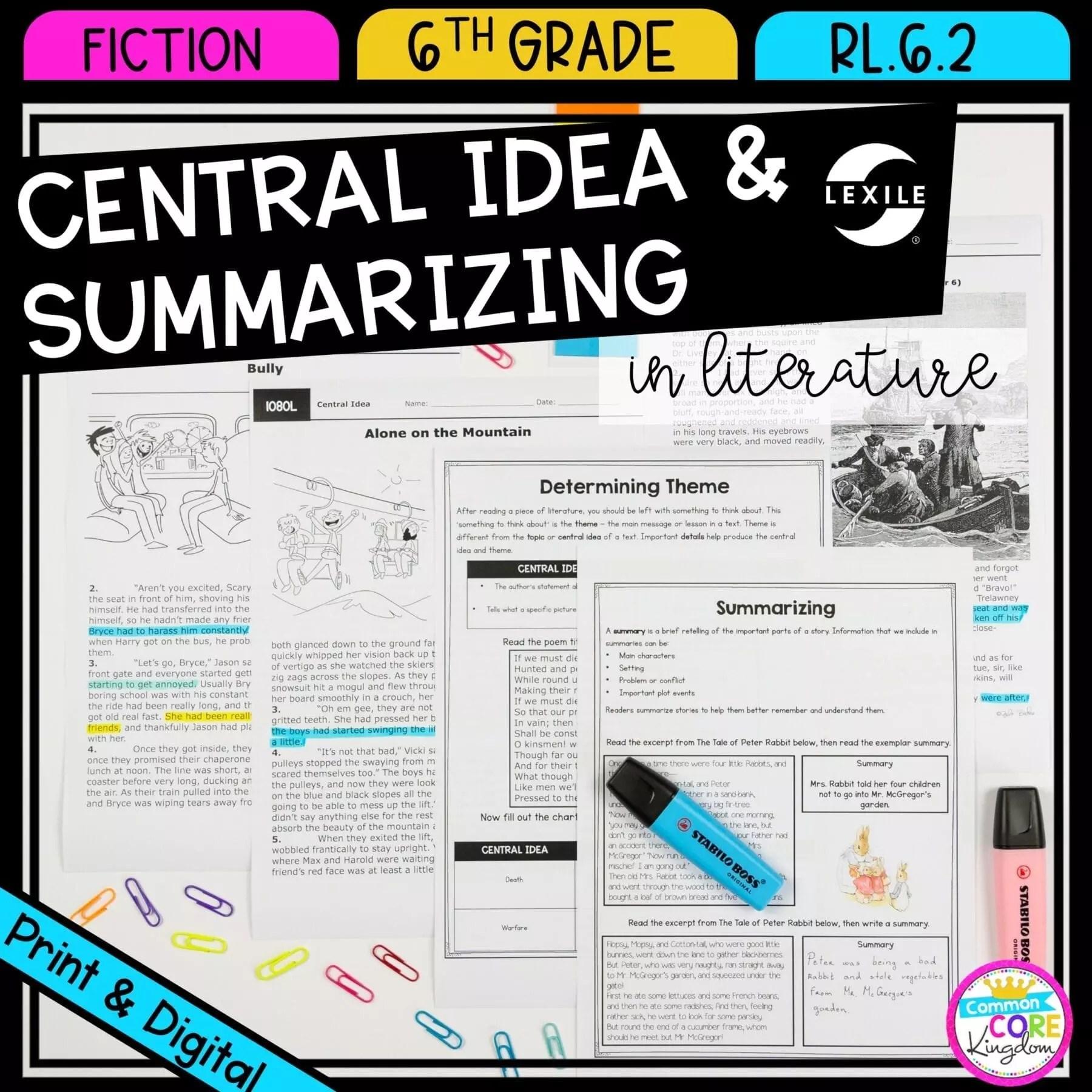 small resolution of Central Idea \u0026 Summarizing 6th Grade RL.6.2   Common Core Kingdom