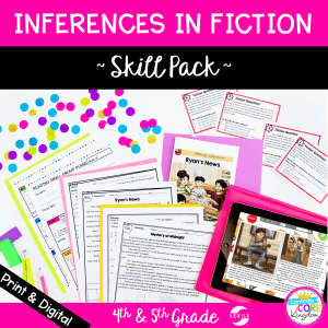 Inferences in Nonfiction Skill Pack for 4th and 5th grade cover showing digital and printable reading comprehension resources