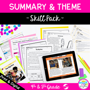 Summary & Theme skill pack for 4th & 5th grade cover showing digital and printable resources