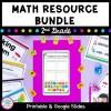 Cover for 2nd grade math bundle showing printable math worksheets and google slide distance learning worksheets