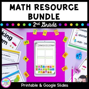 Cover for 2nd grade math bundle showing printable math worksheets and google slide distance learning worksheets