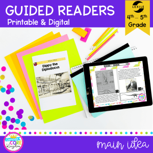 Cover for main idea guided readers showing 4th and 5th grade reading comprehension worksheets