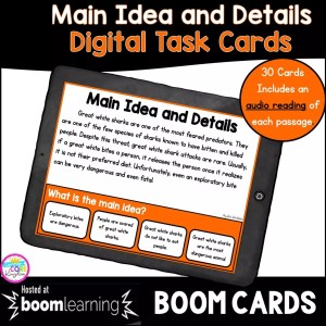 Main idea and details boom cards for 4th and 5th grade cover showing a digital task card on a tablet