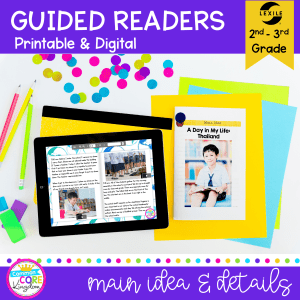 Main Idea guided reader cover for 2nd and 3rd grade showing a printed and electronic guided reading passage