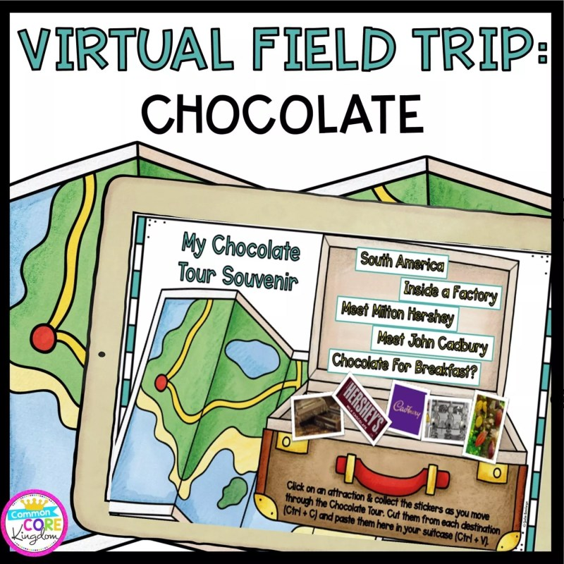 Cover for Chocolate Virtual Field Trip showing a map in the background and a suitcase for students to put their learning in.