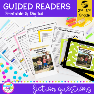 Cover for 2nd and 3rd grade guided reading packet showing printed and digital guided readers