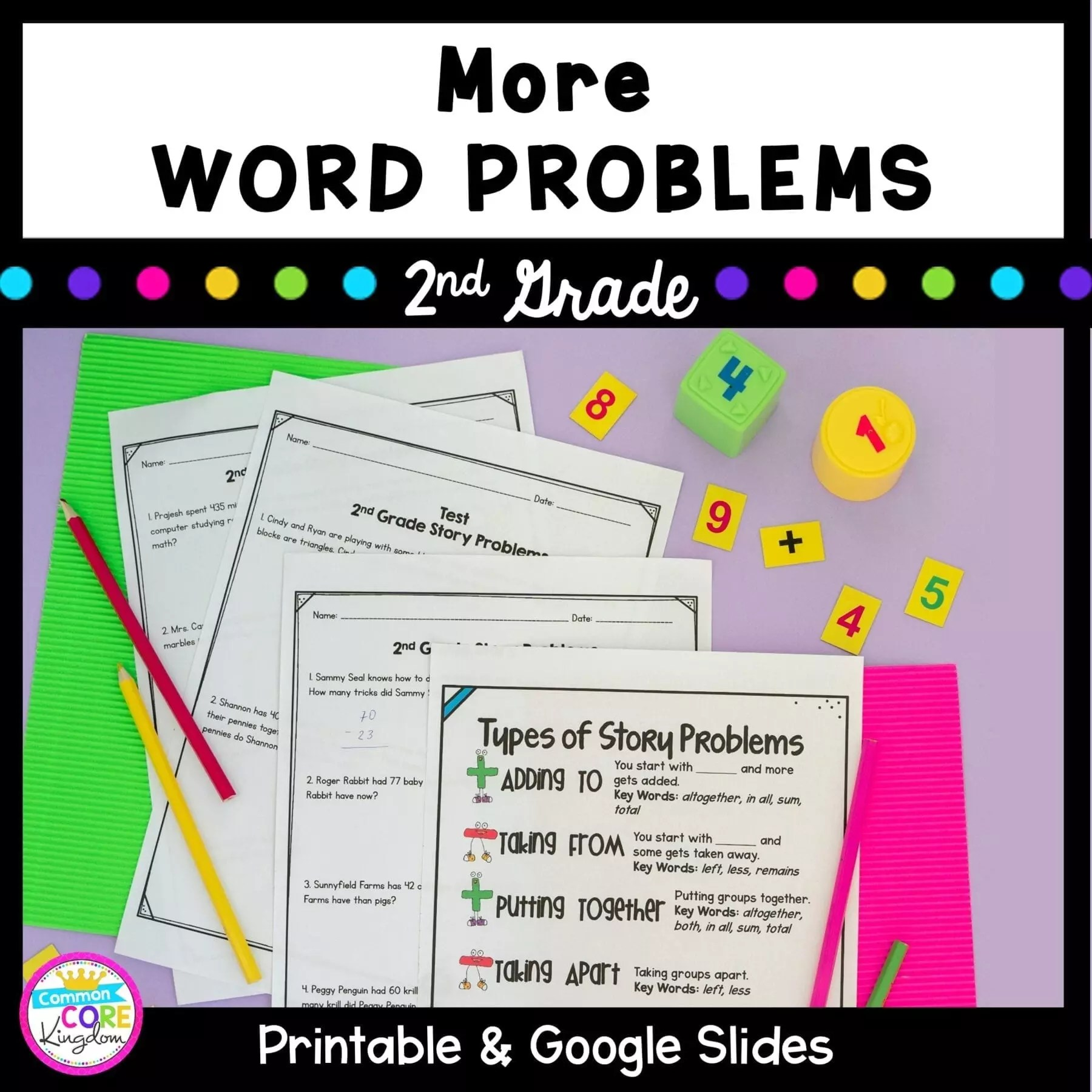 Second Grade Word Problem Practice   Google Distance Learning Pack [ 1800 x 1800 Pixel ]