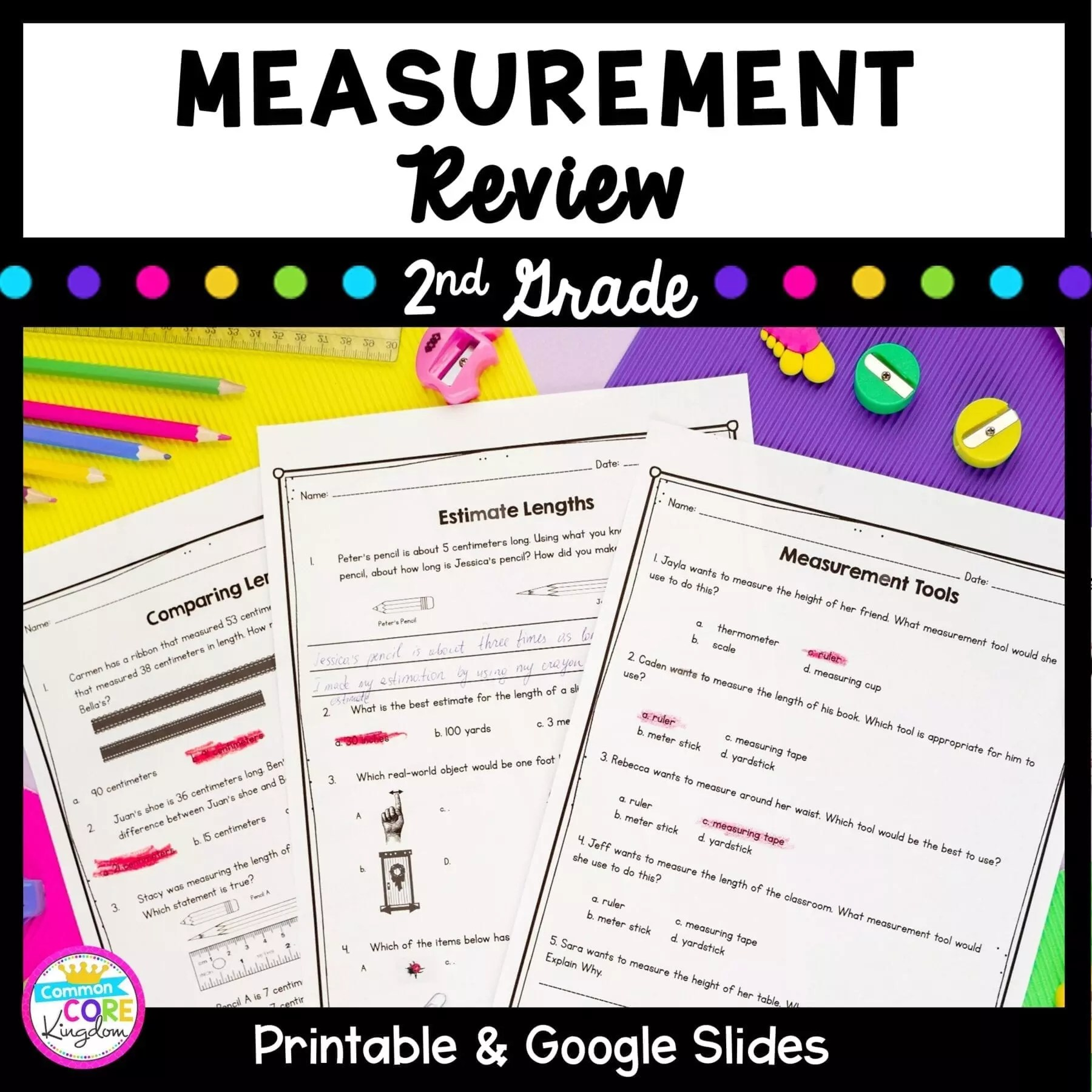 hight resolution of Measurement Review - 2nd Grade Google Slides Distance Learning Pack    Common Core Kingdom