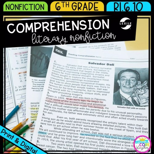 small resolution of Literary Nonfiction Reading Comprehension   Common Core Kingdom