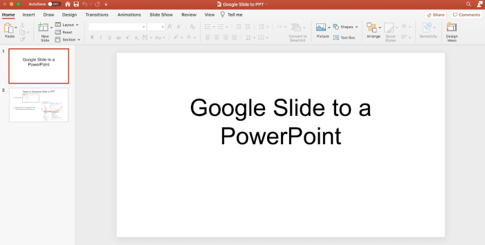 Screenshot showing a google slide document converted into a powerpoint file