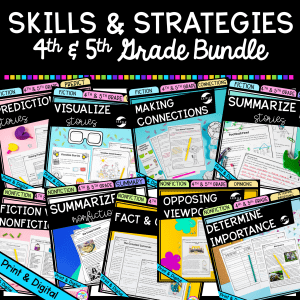 Skills and Strategies Bundle for 4th & 5th Grade cover showing 9 individual product covers