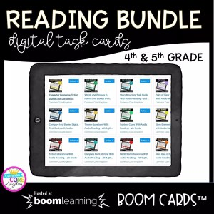 Reading Bundle Digital Task/Boom Cards for 4th and 5th grade cover showing a digital page of different lessons in the bundle