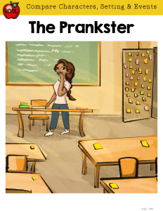 RL.5.3 Guided Reading Cover for The Prankster showing a girl at a desk at the front of a classroom