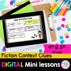 Fiction Context Clues for 4th and 5th grade digital lessons with google slides cover