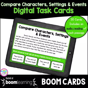 RL.5.3 Compare Story Elements digital task card boom cards for 4th and 5th grade