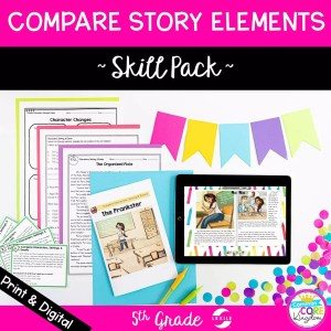 RL.5.3 compare story elements characters events and setting skill pack cover showing printable and digital teaching resources
