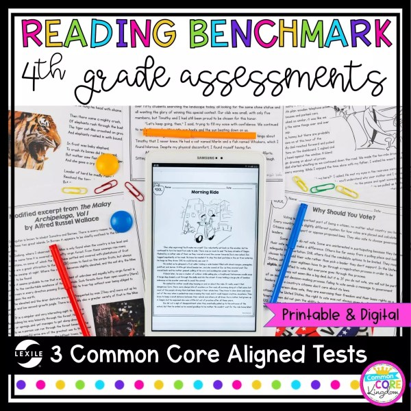 Reading Benchmark Assessment for 4th grade cover showing digital and printable passages and questions for testing fourth grade