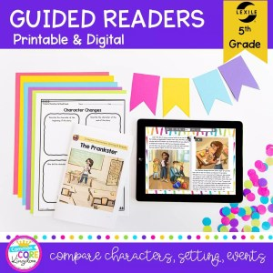 Cover for 5th grade RL.5.3 Guided Reading Packet with digital and printable covers