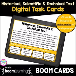 Boom card cover for historical scientific and technical text digital task cards showing a distance learning resource on a tablet