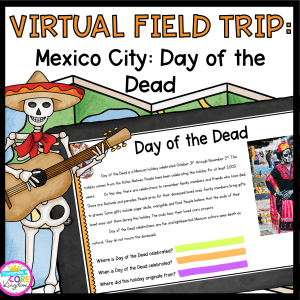 Day of the Dead Virtual Field Trip cover for 2nd -5th grade, showing digital page of information with a skeleton