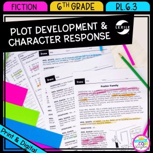 RL.6.3 Plot Development & Character Response cover showing three passage pages that can be printed or viewed digitally