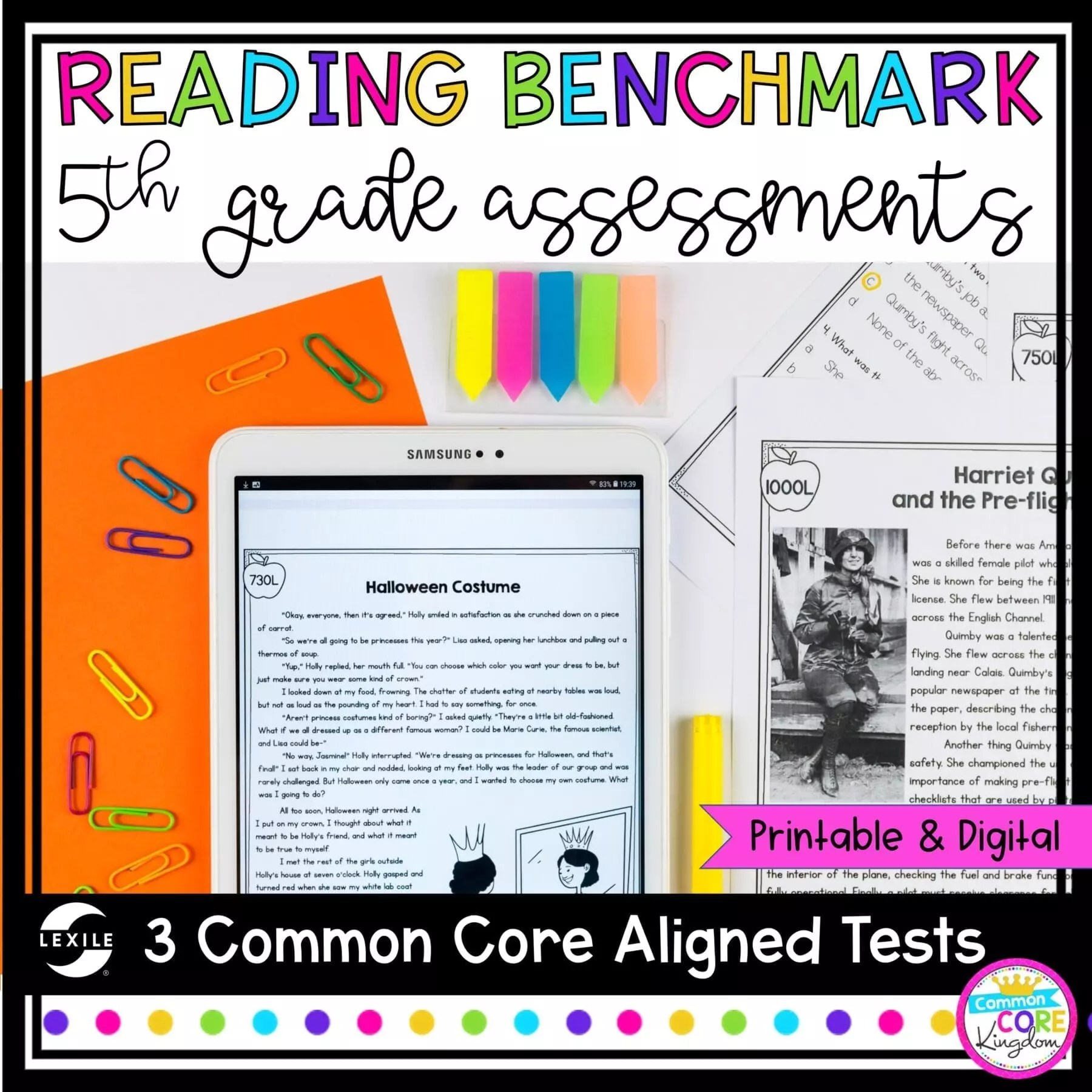Reading Benchmark Assessments for 5th Grade - Google Forms \u0026 Print [ 1800 x 1800 Pixel ]