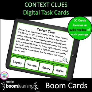 Context Clues Boom Cards cover for 4th & 5th Grade