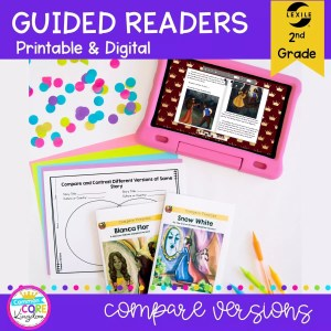Guided Reader cover for Comparing Versions of a Story for 2nd Graders showing printable and digital worksheets