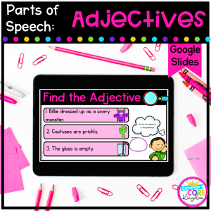 Parts of Speech - Adjective cover for 2nd, & 3rd grade showing a digital activity