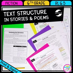 RL.6.5 Text Structure in Stories and Poems cover showing a worksheet and 3 passage sheets available in printable and digital formats